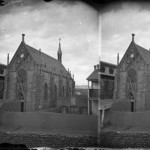 Loretto Chapel with adobe wall 1881
