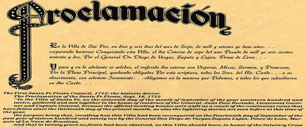 Proclamation of Santa Fe Fiestas